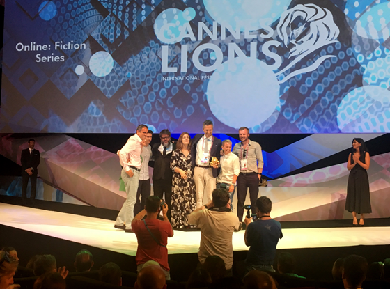 OgilvyOne, Foss Productions and Mondelez accept the Gold Lion for Lacta From the Start