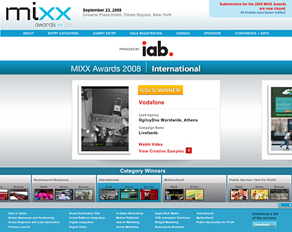 GOLD WINNER at MIXX Awards 2008